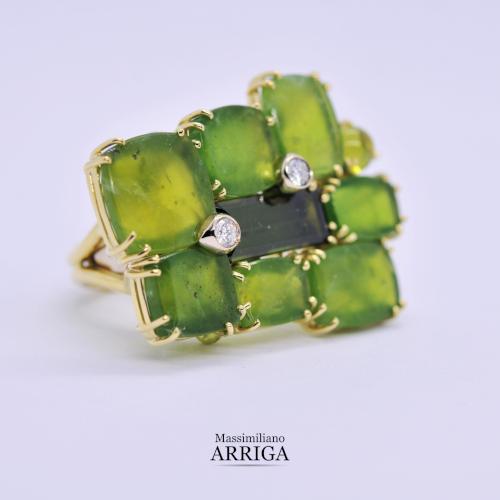 Anello in oro con Opali verdi e Diamanti_2
