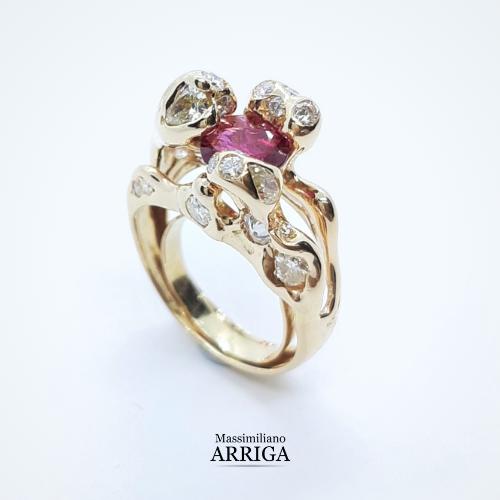 anello rubino diamanti arriga