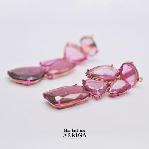 Orecchini in Oro con Tormaline rosa e Diamanti